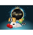Casino golden frame with crown stack poker chips vector image