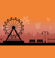 silhouette amusement park with firework scenery vector image