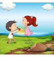A boy making a marriage proposal at the riverbank vector image