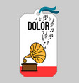 music tag with gramophone vector image