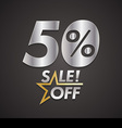 Fifty percent sale off with star vector image