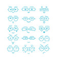 blue emoticons faces with different eyeglasses vector image
