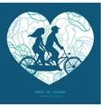 blue line art flowers couple on tandem vector image