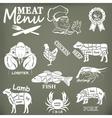 Set of butcher shop labels and design elementsn vector image