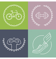 sport logos in outline style vector image