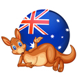 A kangaroo in front of the ball with the vector image vector image
