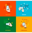 Hand smart phone flat icons composition vector image vector image