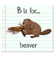 Flashcard letter B is for beaver vector image