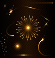 Set of flare on dark background vector image