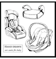 car seats for baby on white background vector image