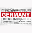 Germany top and famous city names word cloud vector image