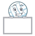 grinning with board volley ball character cartoon vector image