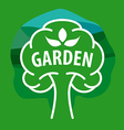 logo tree for the garden on a green background vector image