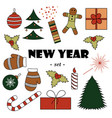 set of color new years elements white background vector image