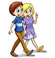 Two people walking vector image