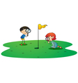 kids on golf ground vector image vector image