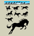 Horse Running Silhouettes 2 vector image