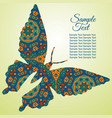 doodle zentangl drawing butterfly holiday card vector image