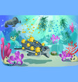 colorful underwater marine landscape template vector image