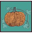 Ornated pumpkin stylized Halloween card vector image