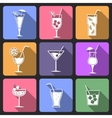 Cocktail flat icons set vector image