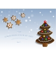 Ginger chocolate tree on snow background vector image