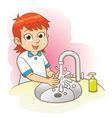 girl washing her hands vector image