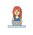 profesional businesswoman with laptop and vector image