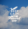 Travel type design with clouds background vector image