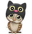 cute cartoon owl in a cat hat vector image
