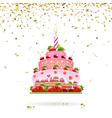 Celebratory Cake with Confetti vector image