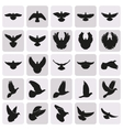 flying black dove pigeon simple icons set vector image