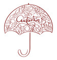 autumn word in vintage umbrella on vector image