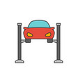 car lifting flat line icon vector image