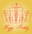 Happy birthday with gift box on a gold background vector image