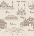 travel asia background world famous landmark vector image
