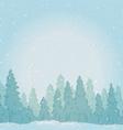 Vintage winter forest landscape vector image