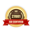 iso 27001 certified medal - information security vector image