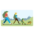 Family going to the mountain with backpacks vector image