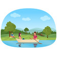 a couple swimming on boat in the pond in the park vector image
