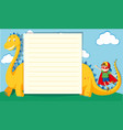 paper template with boy and dragon vector image