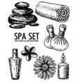 spa salon set ink hand drawn vector image