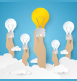 hand holding light bulb idea concept vector image vector image