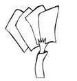 Cartoon hand holding empty blank paper or card vector image