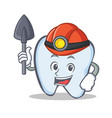 miner tooth character cartoon style vector image