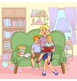 Family Reading Cartoon vector image