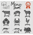 Set of butcher shop labels and design elementsn vector image