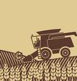 combine harvester in field vector image