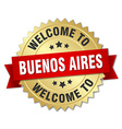Buenos Aires 3d gold badge with red ribbon vector image