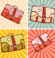 Retro Suitcase Set on Vintage Background vector image